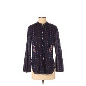 LOFT Softened Floral Button-Down Bell Sleeve Top